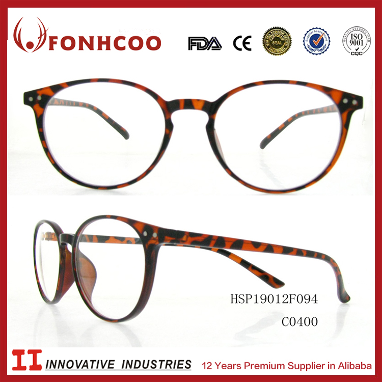 FONHCOO Italy Design CE Pass Plastic Leopard Frame Clear Lens Glasses Sunglasses