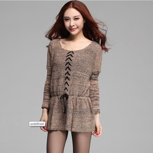 Wholesale Fashion Long Sleeve Tight Peplum Corset Sweater Dress Pullover