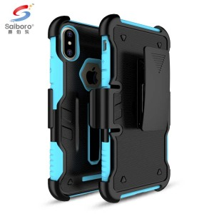 Shock proof pc tpu cell phone case for iphone X case cover with belt clip and kick stand