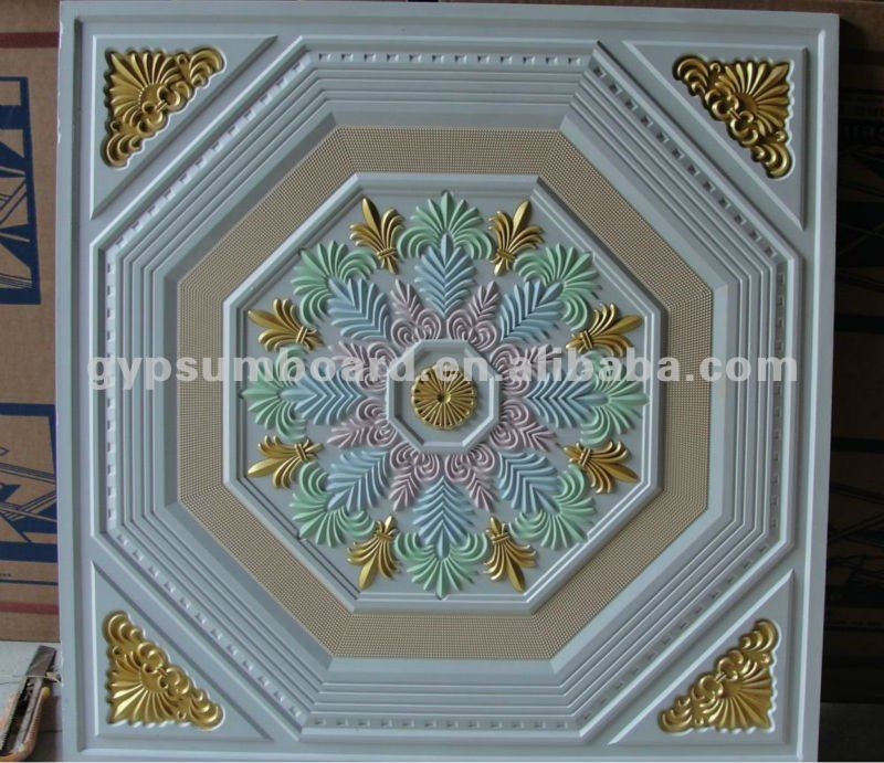 60x60 Or 2x2 Painted Artistic Fiberglass Gypsum Ceiling Tiles Buy