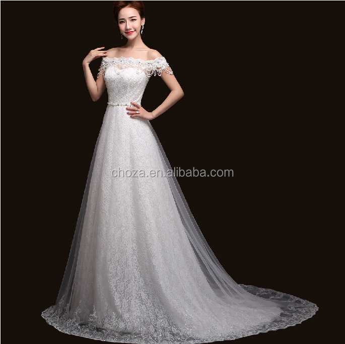 C23352B new fashion women bridal dress boat neck wedding dress