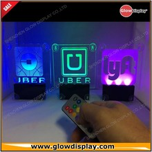 GlowDisplay multicolor licht oplaadbare en afstandsbediening operated Acryl UBER autoruit LED sign