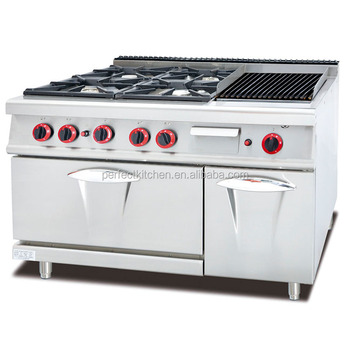 Range With 4 Burners Lava Rock Grill
