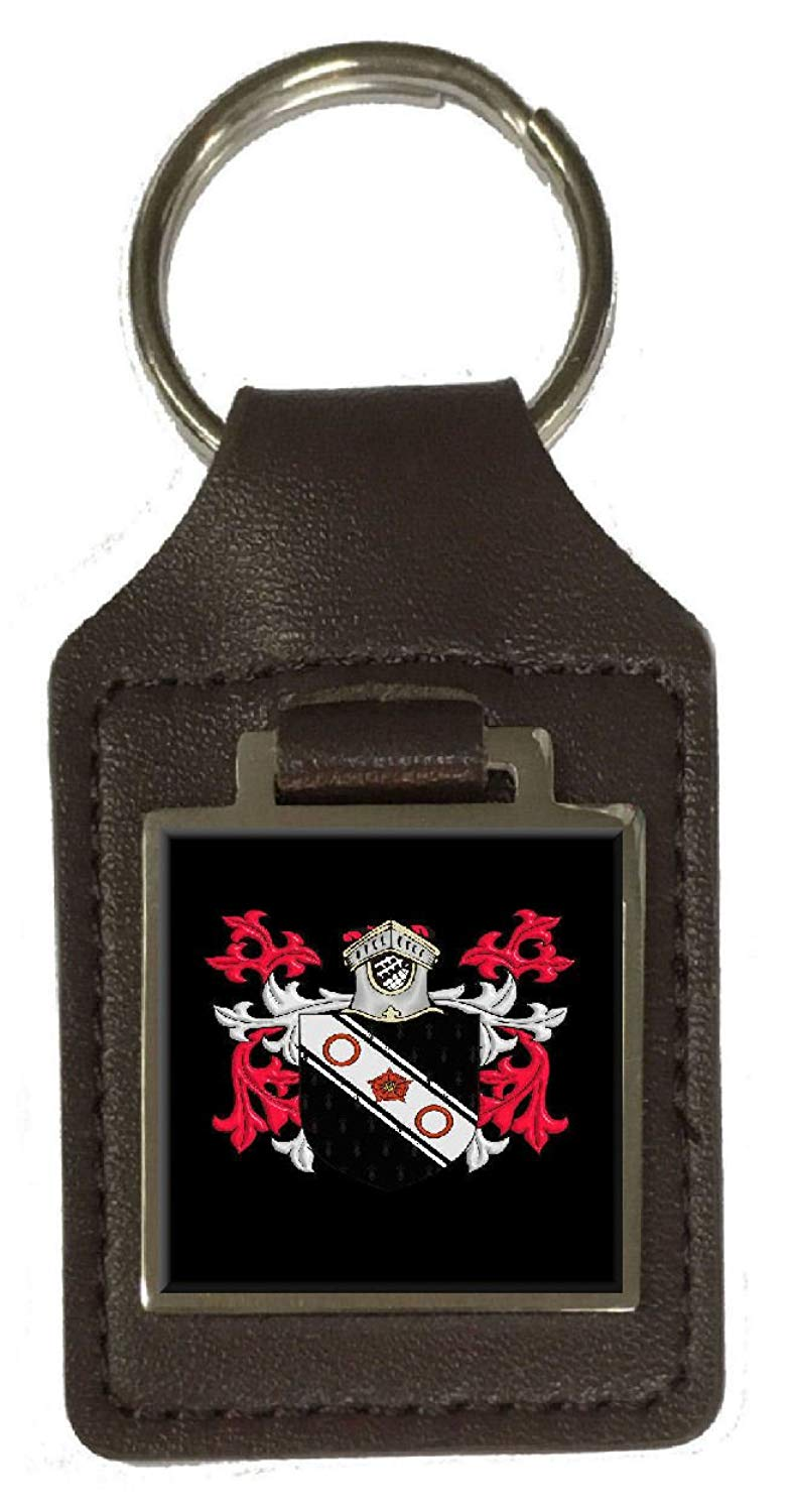 Conway Family Crest Surname Coat Of Arms Brown Leather Keyring Engraved