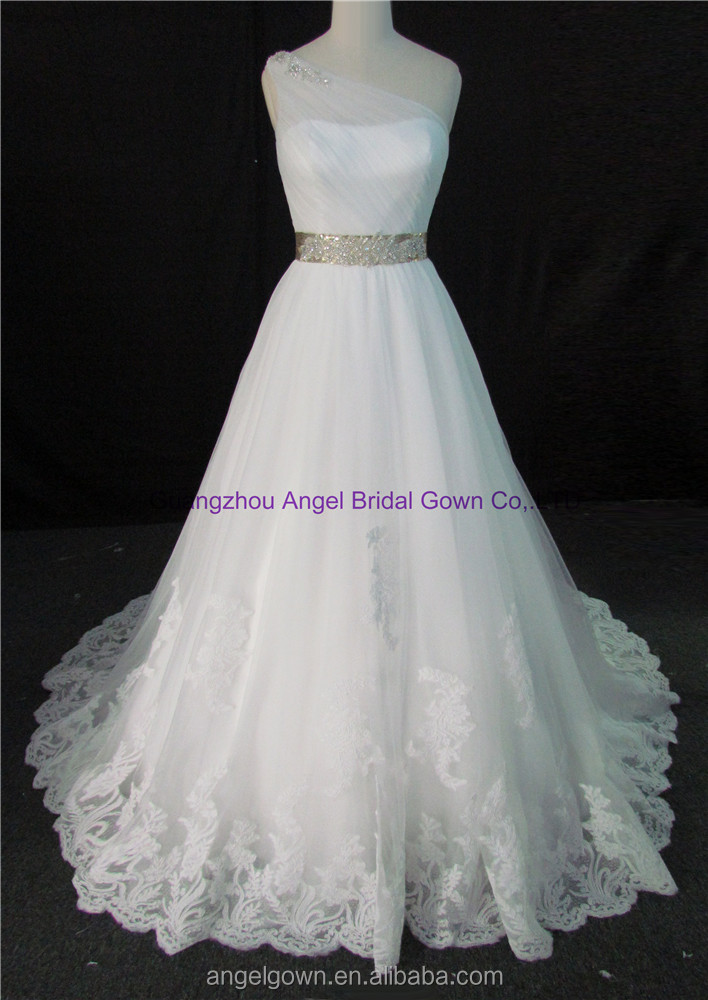 One Shoulder Lace Applique Tulle Wedding Dress Bridal Gown