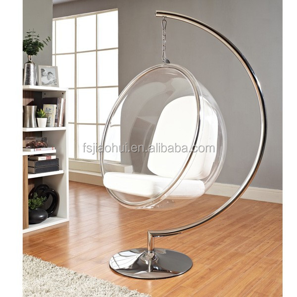 Acrylic hanging bubble chair with stand inspired by Eero Aarnio