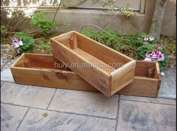 Set 2 Retro And Vintage Rectangular Wooden Planter Window Box Buy