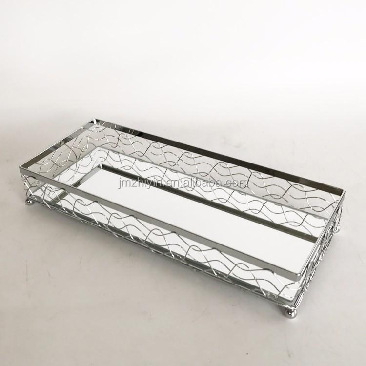 Vintage Decoration Rectangular Vanity Silver Round Or Rectangular Mirrored  Dresser Tray