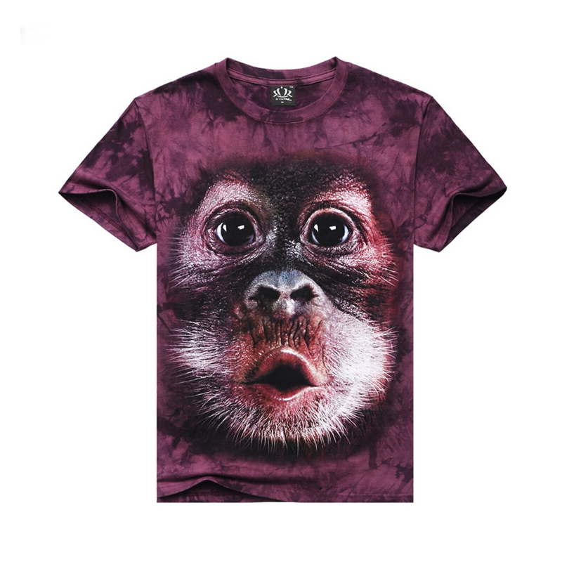 2015 new arrive Men's T-shirts 100%Cotton O-neck casual short sleeve print monkey 3D T-shirts hip hop street wear Streetwear