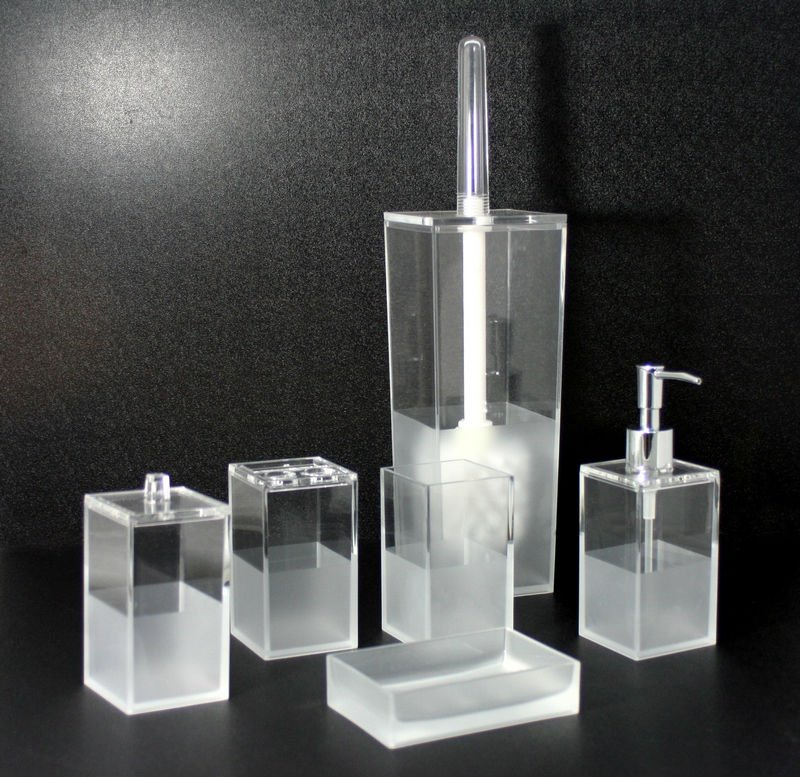 Square Sanded 6pcs Bathroom Accessories Set Toilet Brush Lotion Dispenser