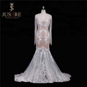 bd9d763798 Stunning trumpet sheer scoop neckline and covered back lace patterns  appliqued nude wedding dress long sleeve mermaid