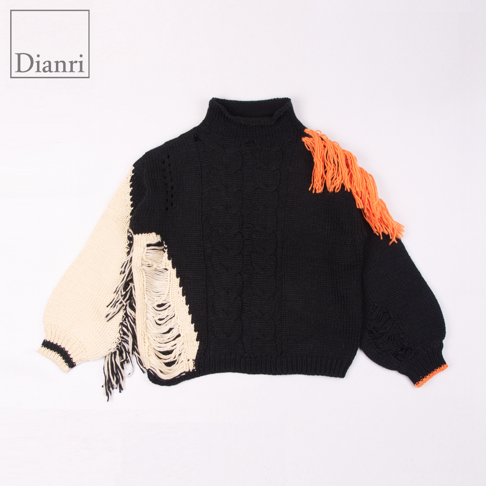 mock neck open-knit fringed sweater pullover with puff sleeves