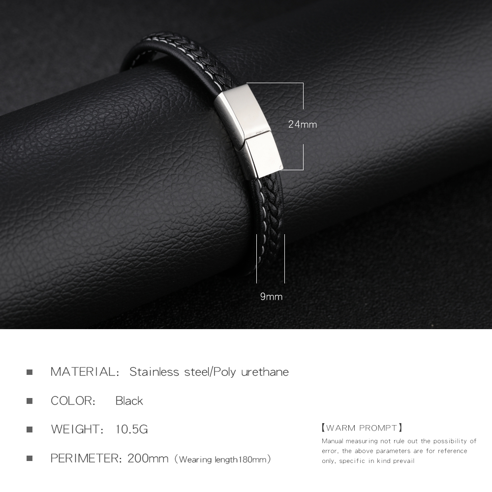 Leather Cuff Bracelet Clasps Stainless