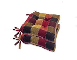Essentials Harris Plaid Set of Four (4) Seat Cushions Spice (Red) -Comfortable, Indoor, Dining, Living Room, Kitchen, Office, Den, Washable, Fabric Ties Chair Pad, Piece