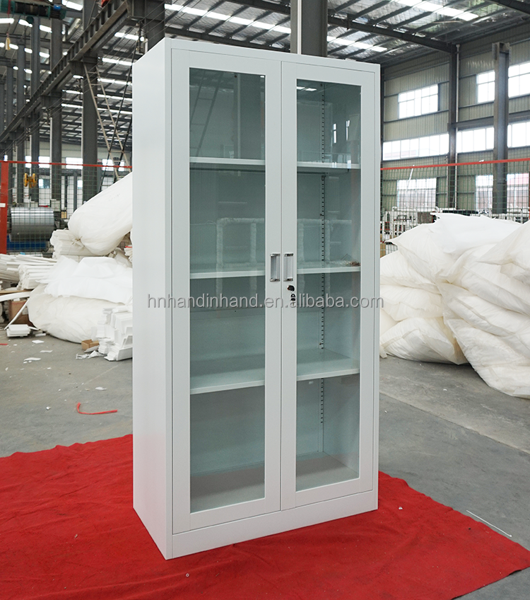 Hazardous chemical storage cabinets with glass door
