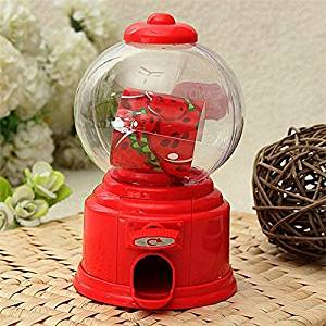 Af Kitchen : Hot Sale Mini Cute Gumball Vending Candy Machine Dispenser Coin Saving Bank Money Box Decorative Gift for Kids - Red