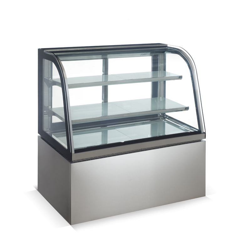 Good Quality Industrial CE Cooler Refrigerated Curved Glass Cake Display Cases