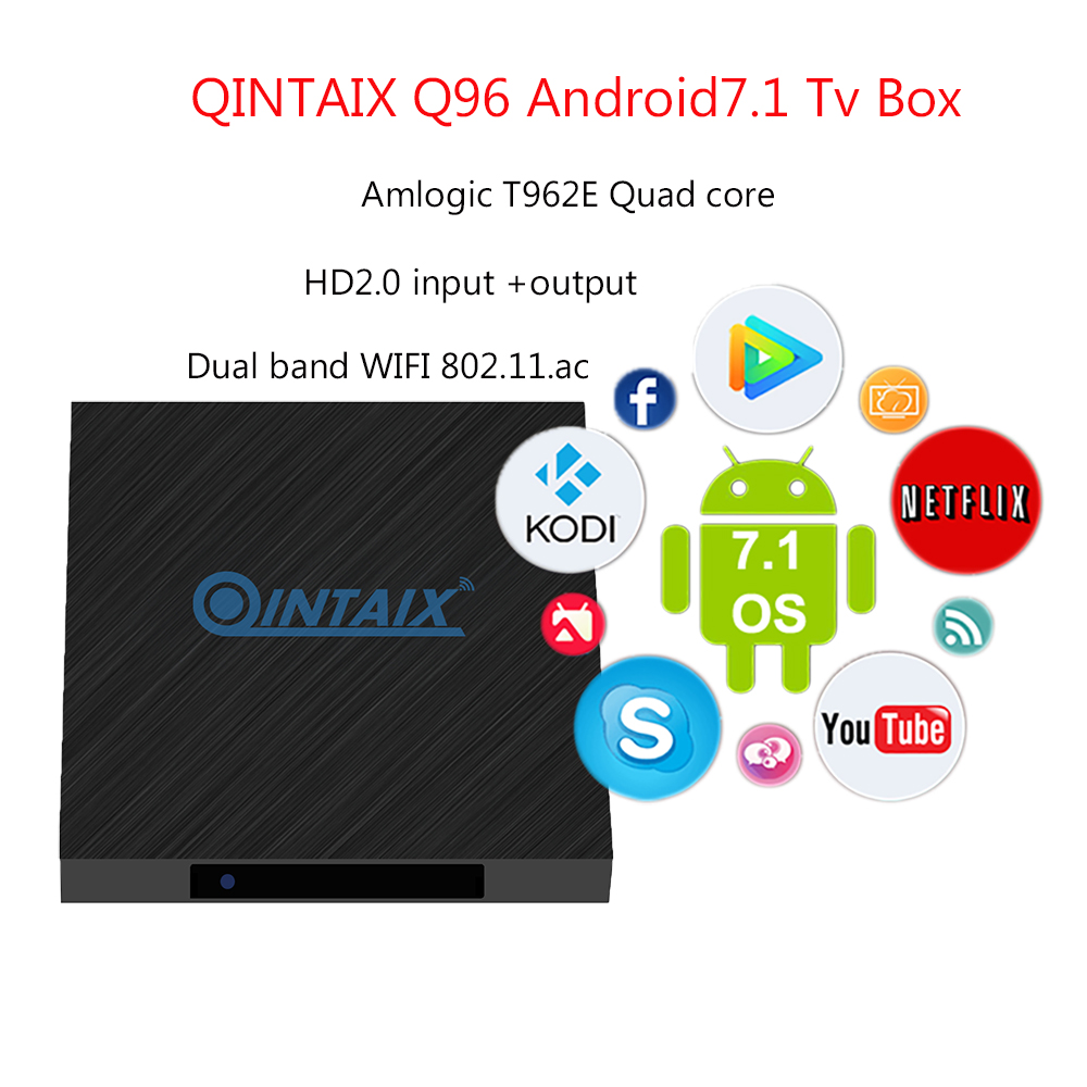 4K Quad Core Amlogic T962E QINTAIX Q96 android 7.1 quad core tv box