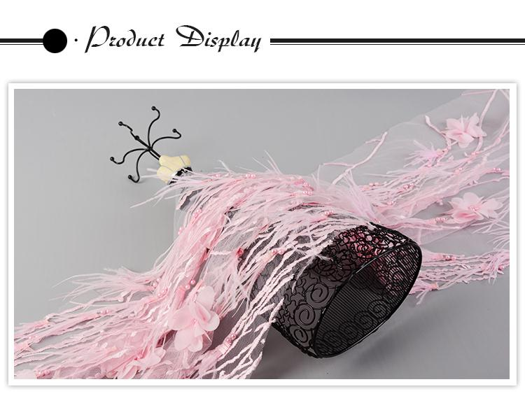 Fashionable elegant poly beaded flower feather 3d lace embroidery fabric for wedding dress