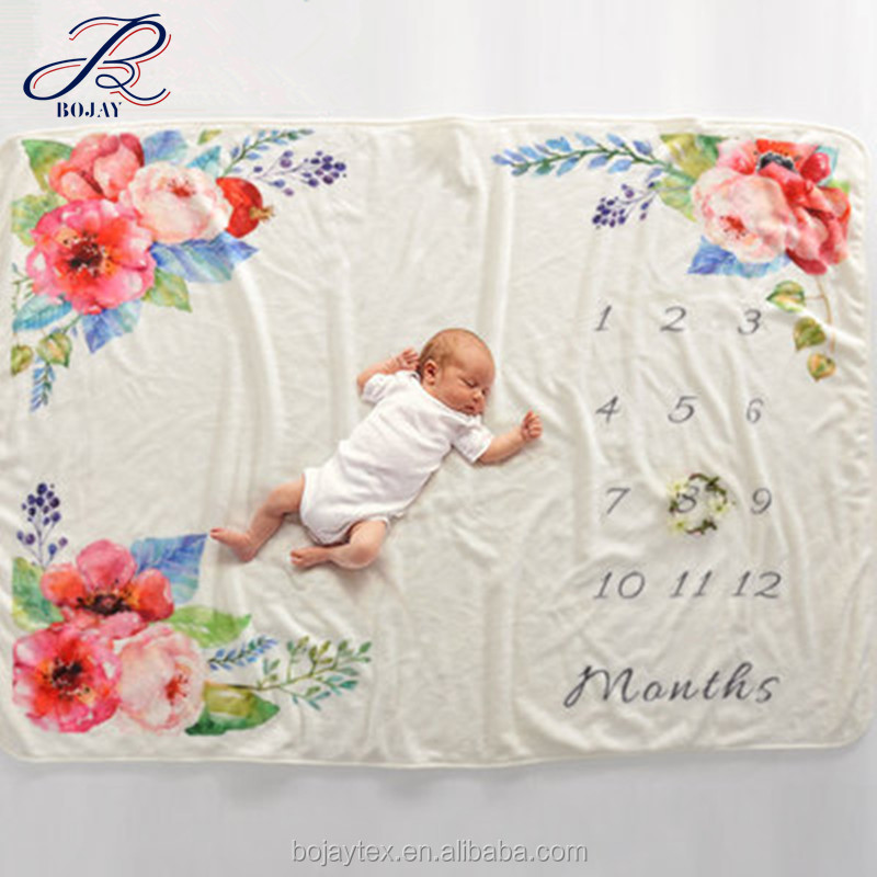 Milestone Blanket Monthly Growth Tracker Soft Fleece Blanket Baby Shower Gift Newborn Gift Blanket Watch Me Grow Baby Boy