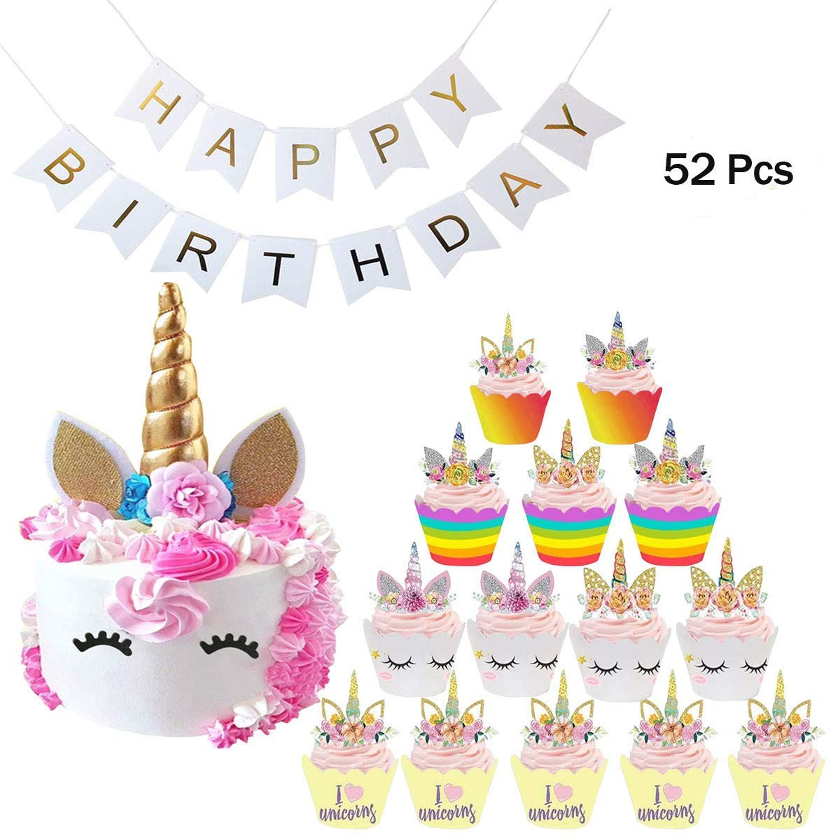Get Quotations Unicorn Cupcake Toppers And Wrappers Double Sided Kids Party Cake Decorations Happy Birthday Banner Set