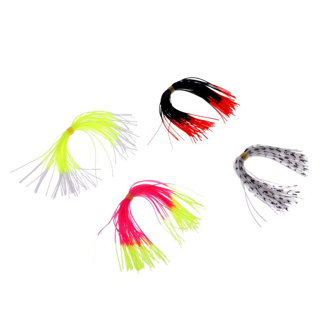 Dovewill 4 Bundles Silicone Skirts Fishing Lure Legs Fly Tying Threads Lures Beard