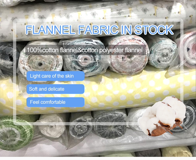 factory cotton stock lot fabric 100%cotton custom printed flannel