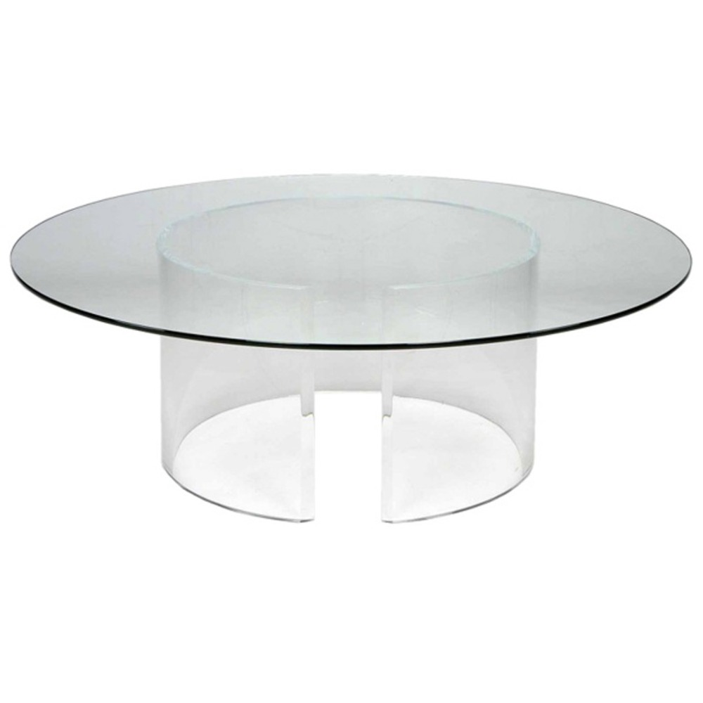 Round acrylic coffee table home design for Clear coffee table