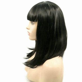 Straight Lob Style For Black Women Hair Cut Synthetic Lace Front Natural Black 1bShort Bob Wigs With Bangs Heat Resistant