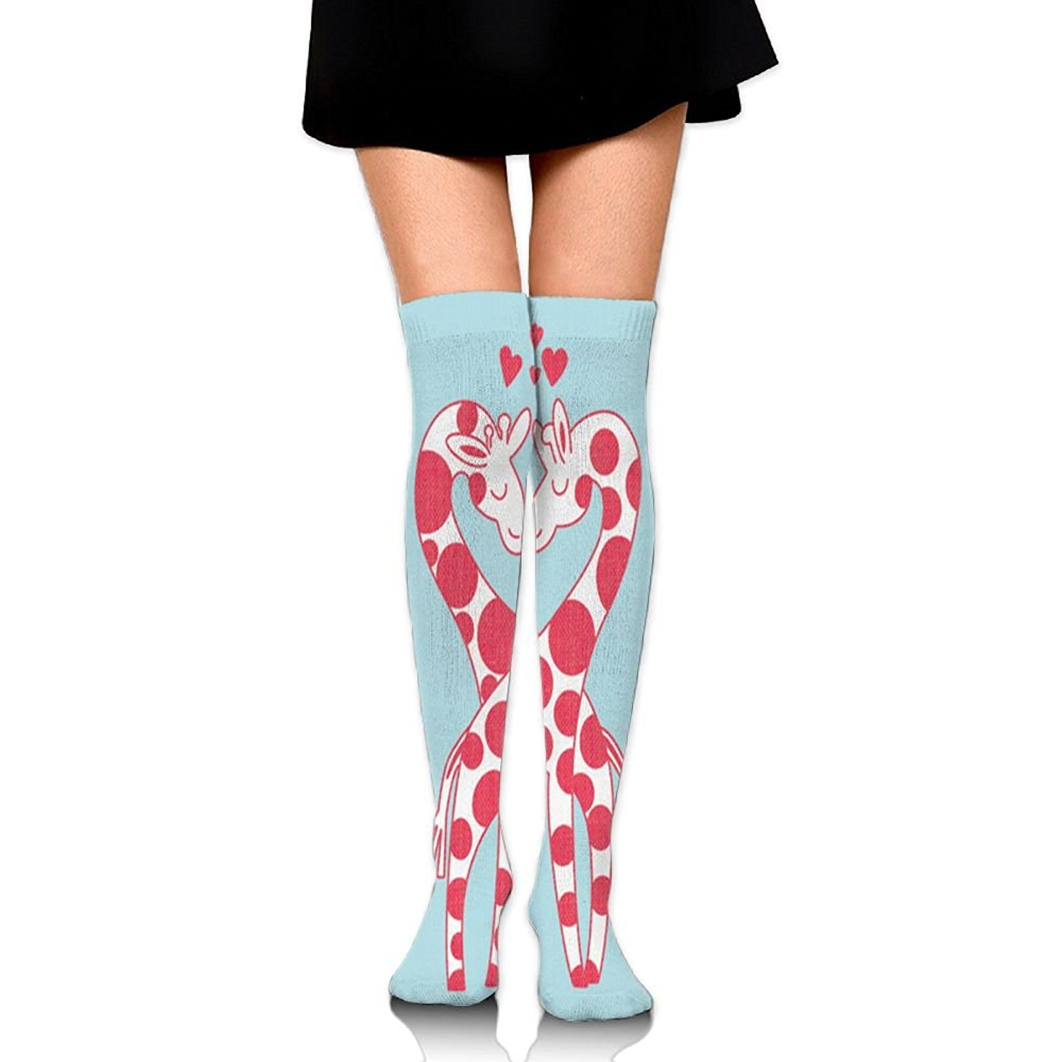 545ae4af3df Get Quotations · JF-X Pink Giraffe In Love Women s Over Knee High Socks Long  Stockings