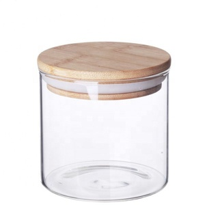 Heat resistant handmade mouthblown 4oz glass candle jar glass storage jar with Bamboo lid