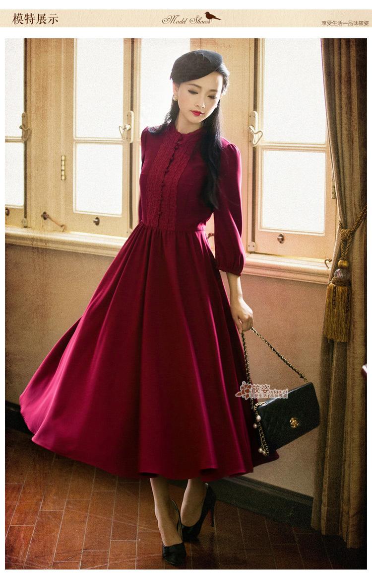 DEMON STYLE 2015 Autumn Vintage women's elegant classic ...