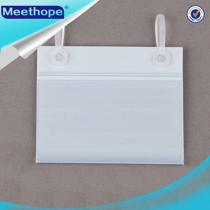 Supermarket barcode rotatable plastic hanging price display clip strip label holder for hook and wire