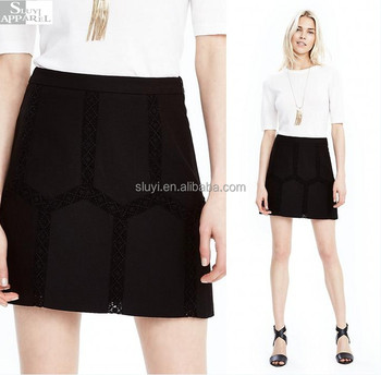 Women Short Office Mini Skirt Black Embroidered Lace Fomal Skirts 2017