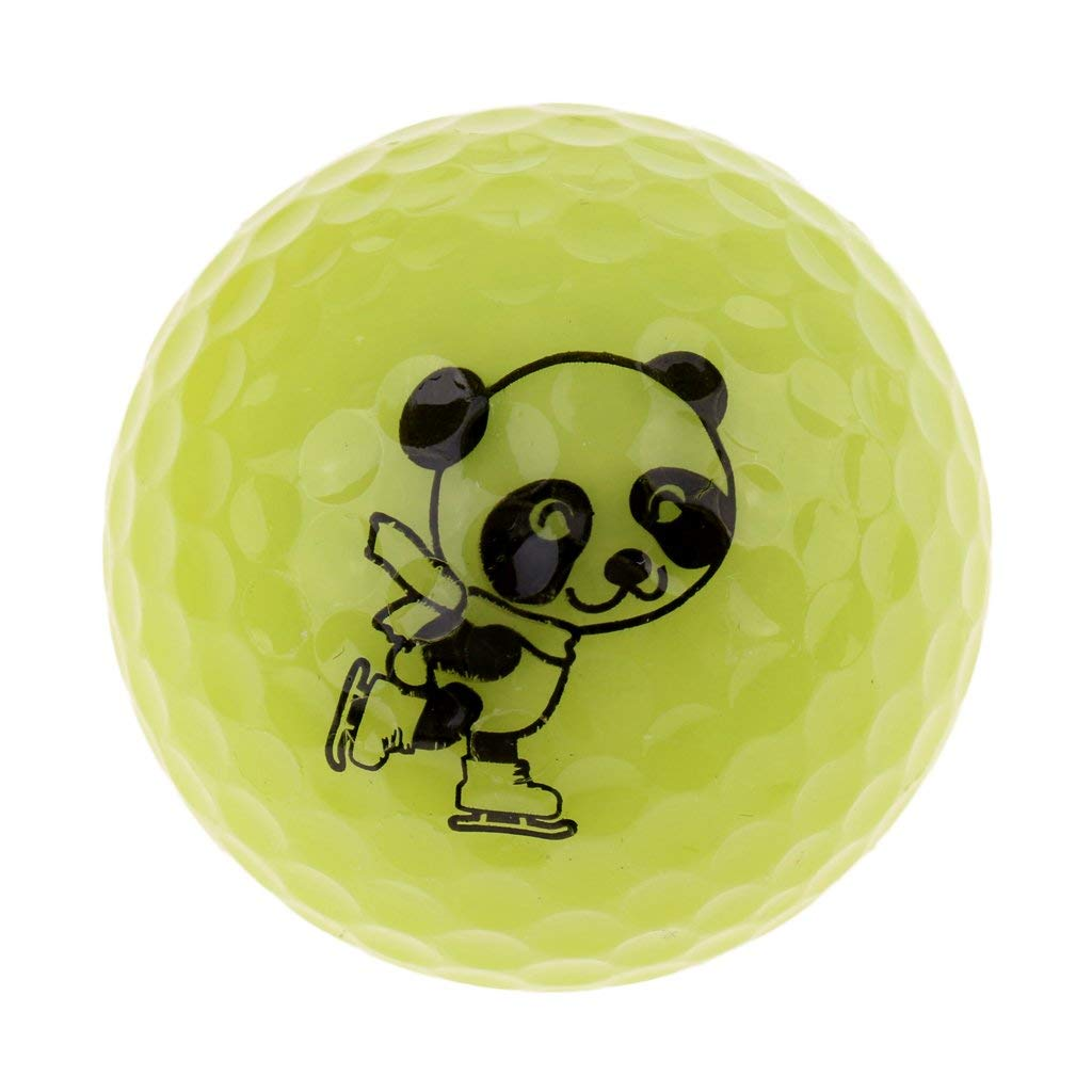 MonkeyJack Cute Panda Patterns Golf Practice Ball Synthetic Rubber Golf Ball for Golf Range, Outdoor Golf Training - Choice of Colors