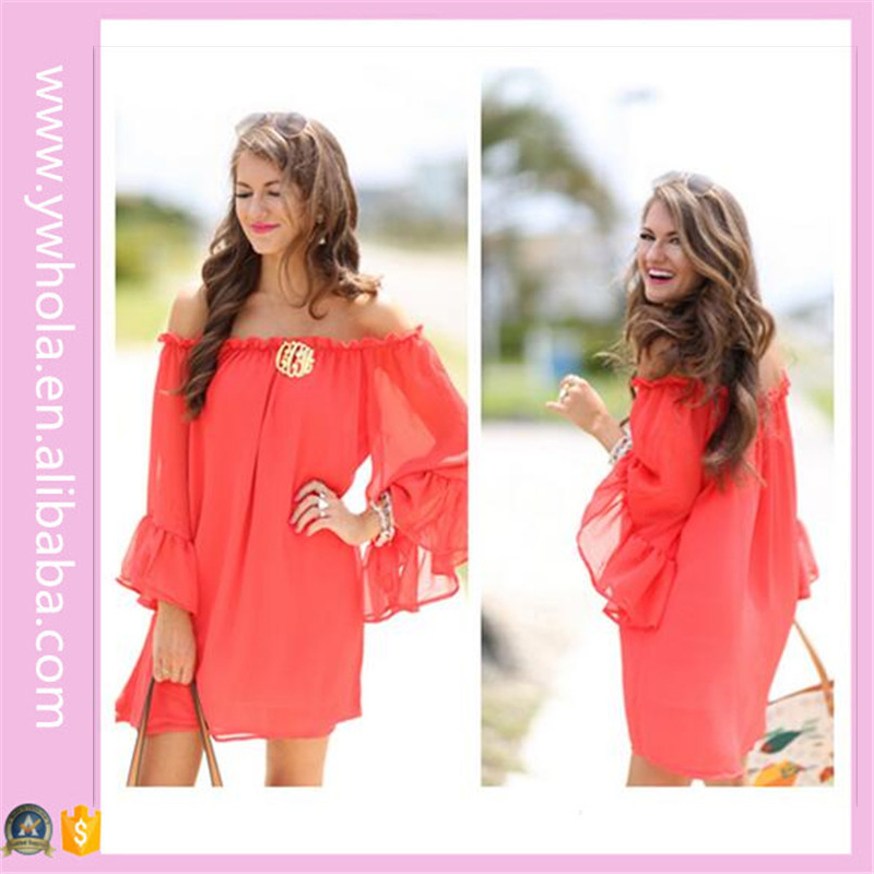 Long Sleeves Peach Red Chiffon Casual One Piece Dress