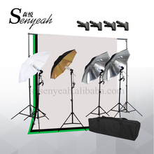 Muslin Background Backdrops stand Photography Studio light Kit with Reflective umbrella kit and E27 lamp hold