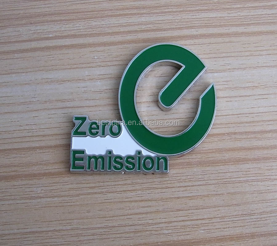 new style metal car lable pins, zero emission soft enamel car emblem, environmental awareness car brooch