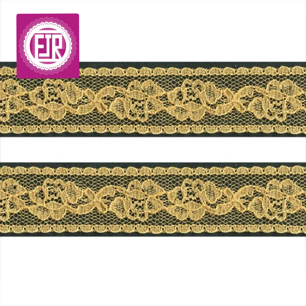 1 inch wide lace trim, rose pattern flower lace, gold lace trim