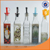 250ML good sell square olive oil &vinegar glass bottle, clear/ with decal/ with hand painting