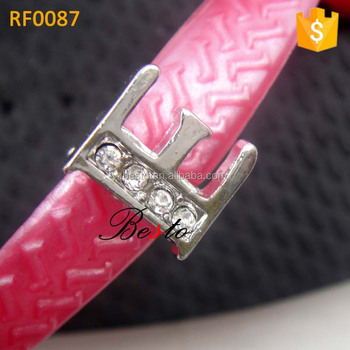 New high quality bling crystal E alphabet letter flip flop clip for shoes