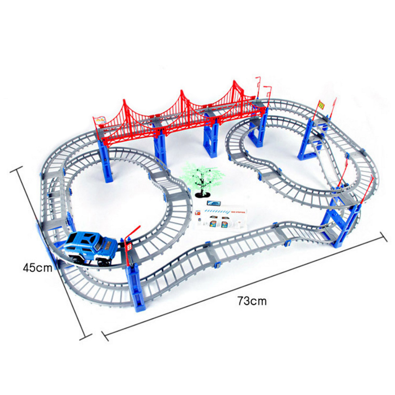 DIY racing battery operated rail track car toys