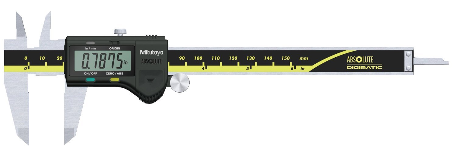 """Mitutoyo 500-171-20 Digital Calipers, Battery Powered, Inch/Metric, for Inside, Outside, Depth and Step Measurements, Stainless Steel, 0""""/0mm-6""""/150mm Range, +/-0.001""""/0.01mm Accuracy, 0.0005""""/0.01mm Resolution"""