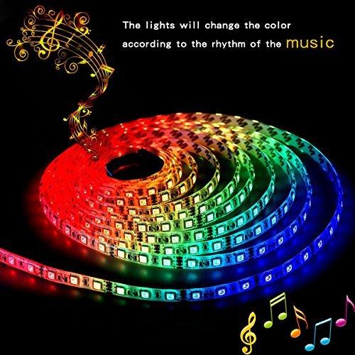 LED Strip Lights LED Lights Sync to Music 16.4Ft/5M LED Light Strip 300 LED Lights SMD 5050 Waterproof Flexible RGB Strip Lights IR Controller+12V 5A Power