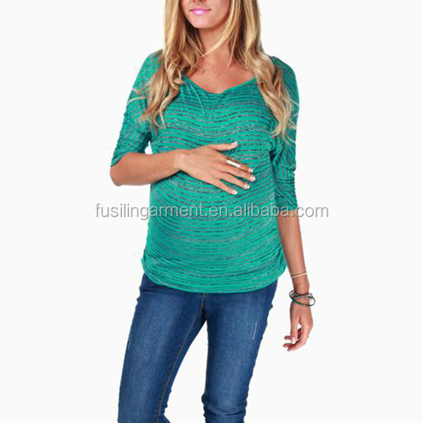 OEM wholesale Women's small stripe elbow sleeve pregancy Maternity clothes,maternity top