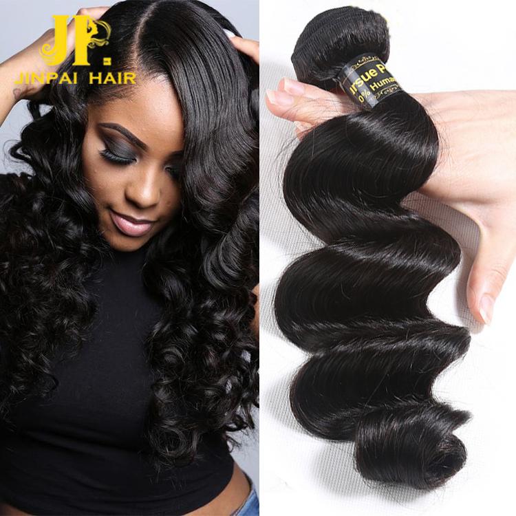 JP Wholesale Brazilian Human Hair Hair extension, Best Remy Tangle Free Human Hair Bundles, Virgin Hair Hair Bundles, Natural color;close to color 1b