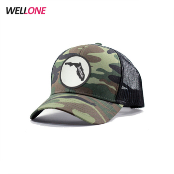 Wellone DIY design flat embroidery different pattern two tone black mesh  military custom camo trucker cap e2ced8cccb46