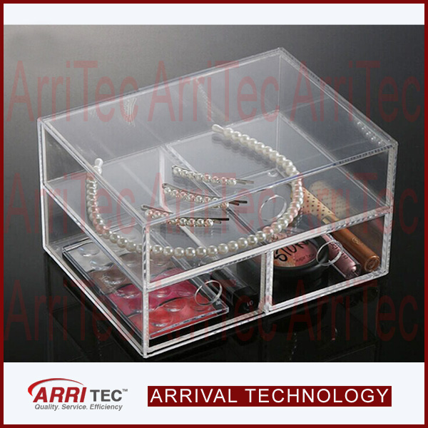 handmade clear PMMA Case With 3 Storage Drawers Acrylic Makeup Organizer Box