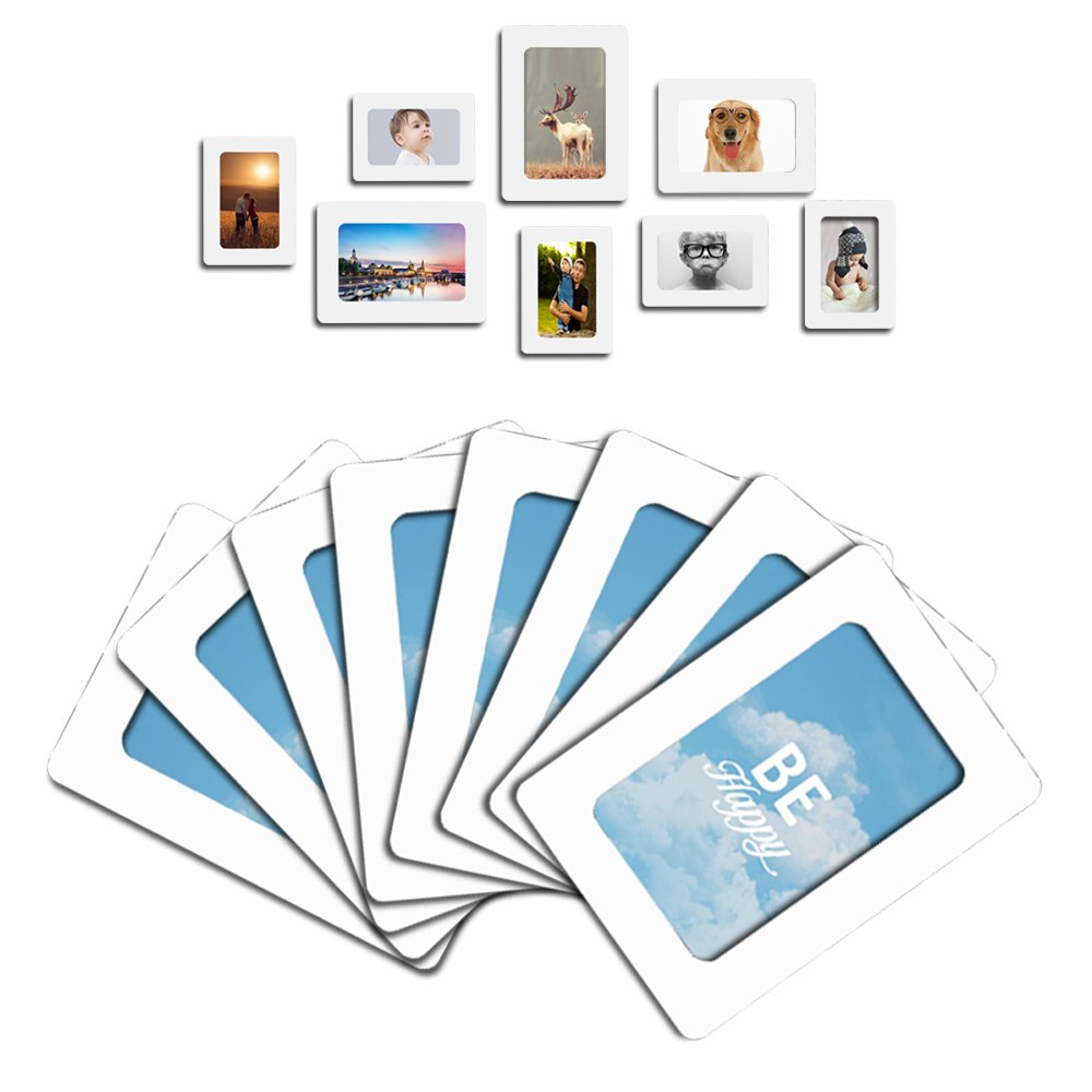 Raxwalker Magnetic Photo Frames and Refrigerator Magnets Holds 4x6 3.5x5 2.5x3.5 Inches Photos,12 Pack(White)
