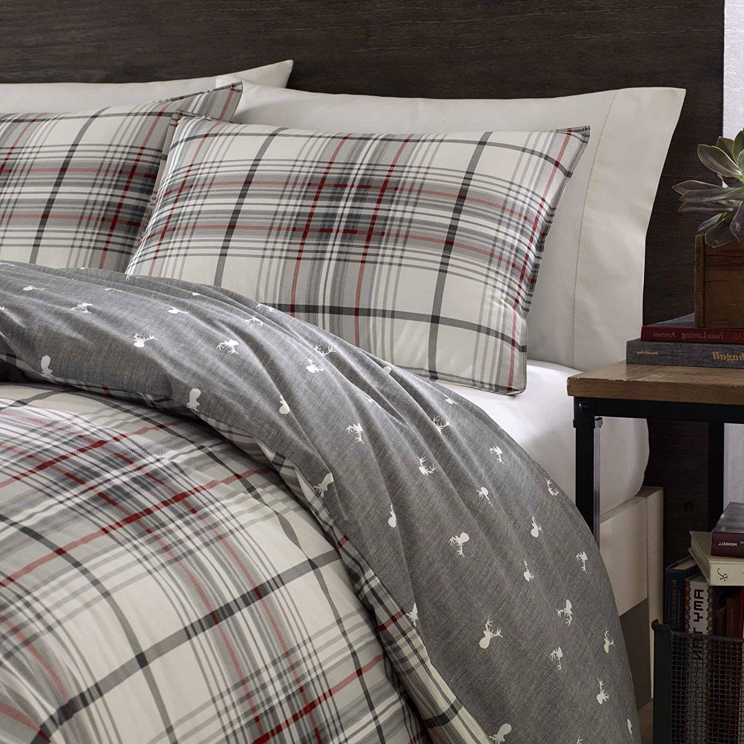 DP 3pc Grey Red White Plaid Comforter King Set, Deer Pattern Flannel Cotton, Tartan Bedding Checked Buffalo Check Classic Madras Cabin Lodge Lumberjack Hunting